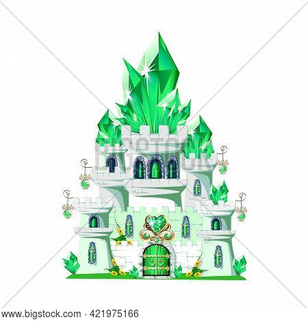 The Emerald Castle Is Adorned With Emerald Crystals And Jewelry. Vector Illustration Of A Fairy Tale