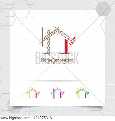 Architect Construction Logo Design Concept Of Architectural Sketch Of The House. Property Logo Icon