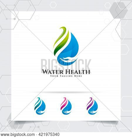 Drop Water Logo Design With Concept Of Droplet Water Icon With Green Ecology Vector Used For Mineral