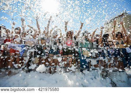 Minsk. Belarus - June 2016: Lots Of People At The Foam Party. Foam Entertaining Party, People Cheerf