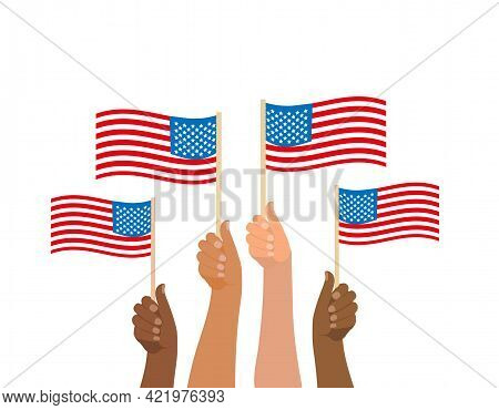 Happy 4th July, People Hold American Flag. American Independence Day National Holiday. Vector Illust