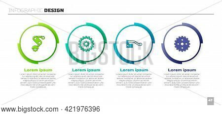 Set Derailleur Bicycle Rear, Bicycle Cassette, Brake And Sprocket Crank. Business Infographic Templa