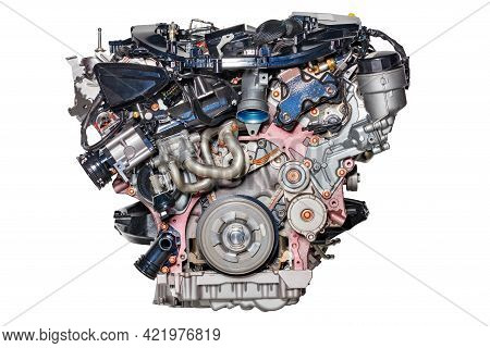 Internal Combustion Engine Of A Modern Car, Image Is Isolated On White Background. Internal Combusti