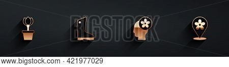 Set Flower Tulip In Pot, Rubber Gloves, Human Head With Flower Inside And Location Icon With Long Sh