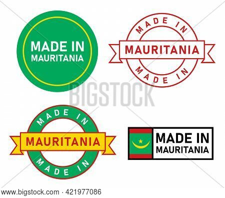 Made In Mauritania Stamp Label Graphic Template Set Of Product Manufactured In Country With Flag Sti
