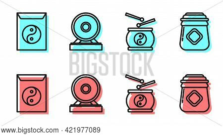 Set Line Chinese Drum, Yin Yang And Envelope, Gong And Jar Of Honey Icon. Vector