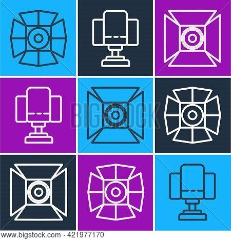 Set Line Movie Spotlight, Movie Spotlight And Director Movie Chair Icon. Vector