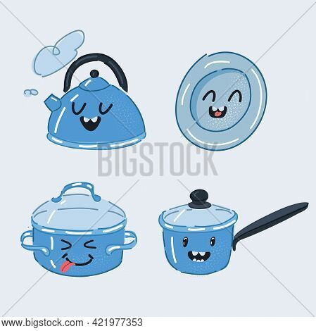 Vector Illustration Of Set Of Funny Pans Smilies. Kettle, Stewpan, Saucepan, Plate On White.
