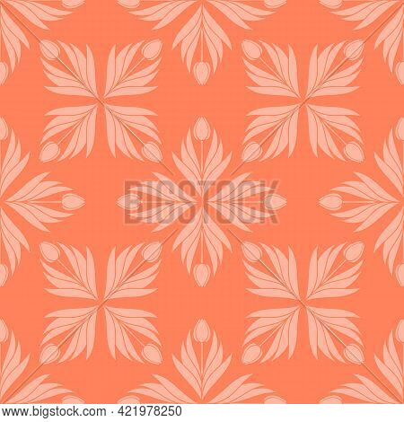 Seamless Pattern With A Pattern Of The Silhouette Of Tulips And Leaves. Design In Coral, Orange For