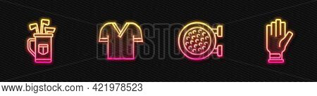 Set Line Golf Sport Club, Bag With Clubs, Shirt And Glove. Glowing Neon Icon. Vector