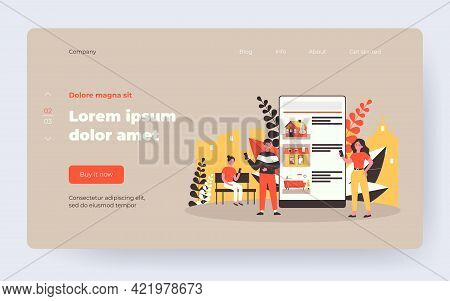 Tiny People Choosing House Online. Internet, Home, Real Estate Flat Vector Illustration. Mortgage An