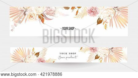 Trendy Dried Palm Leaves, Blush Pink And Rust Rose, Pale Protea, White Peony