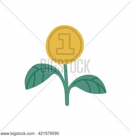 Money Growing From A Sprout. Investment Concept. Financial Literacy. Vector Isolated Fully Editable