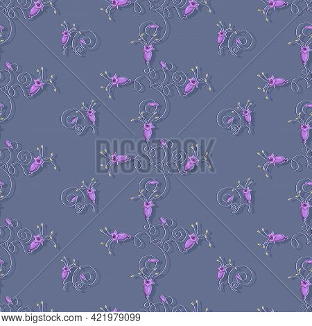 Lilac Bells Background. Vector Campanula Flowers. Seamless Pattern With Vegetable Elements.