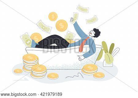 Money Raining On Happy Millionaire In Bathtub. Rich Cartoon Character Bathing In Dollars Flat Vector
