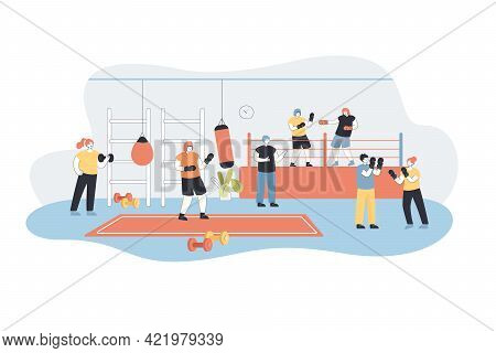 Men And Women In Gloves Training Boxing Exercises At Gym. Cartoon Characters Fighting On Arena Flat