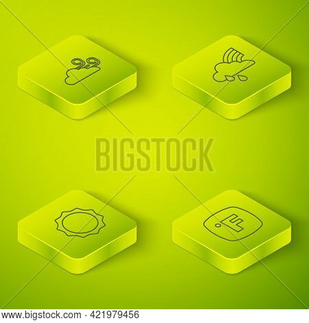 Set Isometric Line Rainbow With Cloud And Rain, Sun, Fahrenheit And Windy Weather Icon. Vector