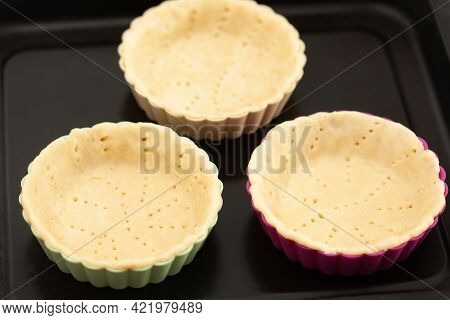 Preparation Of Dough For A Delicious Cheese And Ham Tartlet