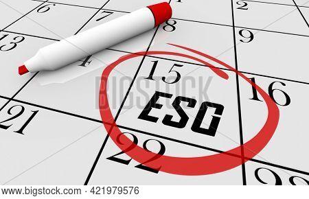 ESG Environmental Social Corporate Governance Sustainability Plan Calendar Start 3d Illustration
