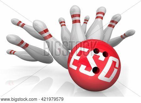 ESG Environmental Social Corporate Governance Sustainability Bowling Ball Strike 3d Illustration