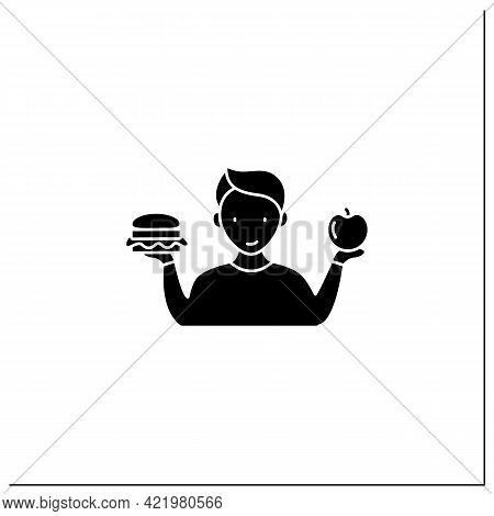 Mindful Eating Glyph Icon. Wiser Choices Of Products. Conscious Nutrition.healthy Food. Improve Rela