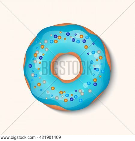 Donut With Color Icing And Multicolored Powder Isolated On A White Background. 3d Realistic Food Ico
