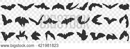 Flying Bat With Wings Doodle Set. Collection Of Hand Drawn Various Black Silhouettes Of Flying Bats