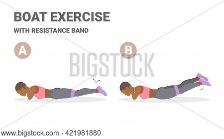 African American Girl Doing Back Strength Fitness Workout Routine With Resistance Band Guidance.