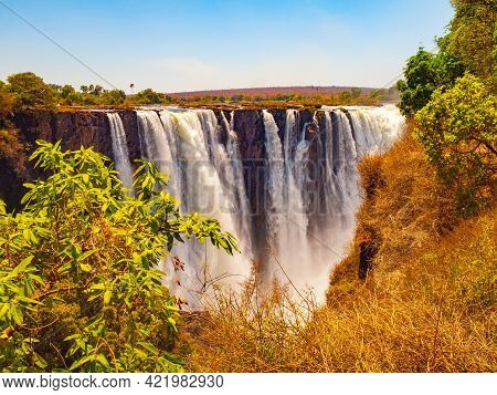 Majestic View Of Victoria Falls From Zimbabwe To Zambia Side In Dry Season