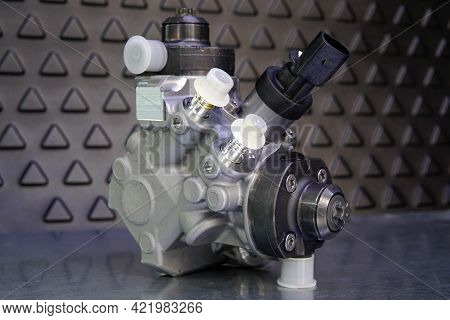 Close-up Of A New Original High-quality Fuel Injection Pump. Selected Focus.