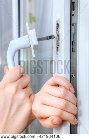 Mounting Handle On Double Hung Window With Double-glazed.