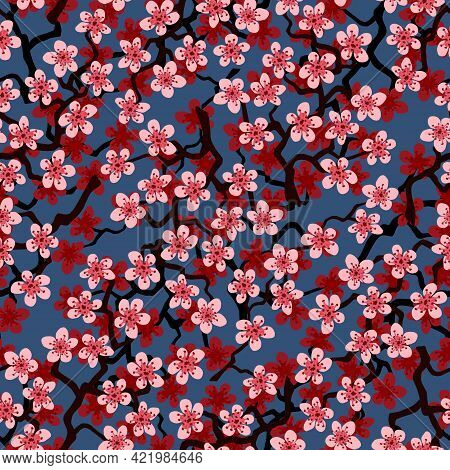 Seamless Pattern With Blossoming Japanese Cherry Sakura Branches For Fabric, Packaging, Wallpaper, T