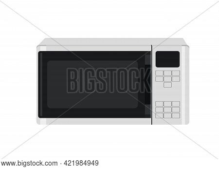 Microwave. Illustration Of A Modern Microwave Oven With A Digital Menu.