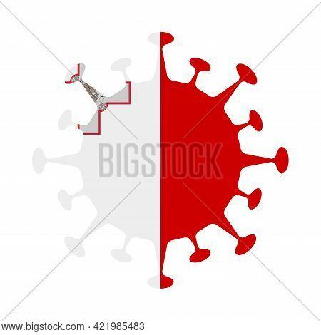 Flag Of Malta In Virus Shape. Country Sign. Vector Illustration.