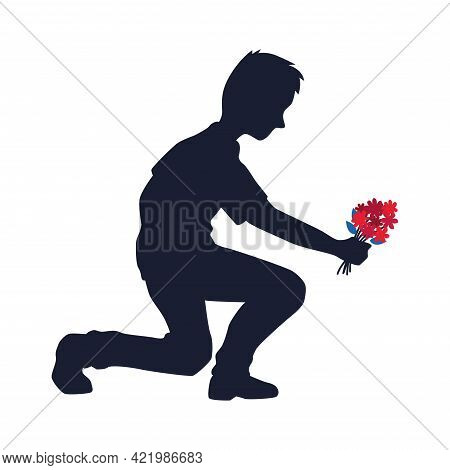 Isolated Kneeling Man With Flowers Vector Illustration