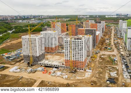 Moscow. Russia. May 2020. New Residential Complex In New Moscow. Construction Of New Neighborhoods A