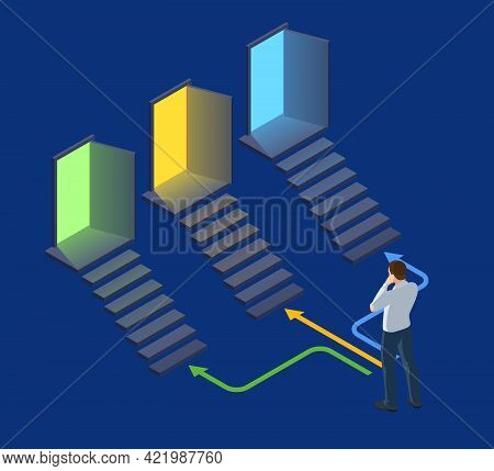 Isometric Man Is Standing In Front Of Three Doors And Having A Choice. Symbol Of Choice, Career Path
