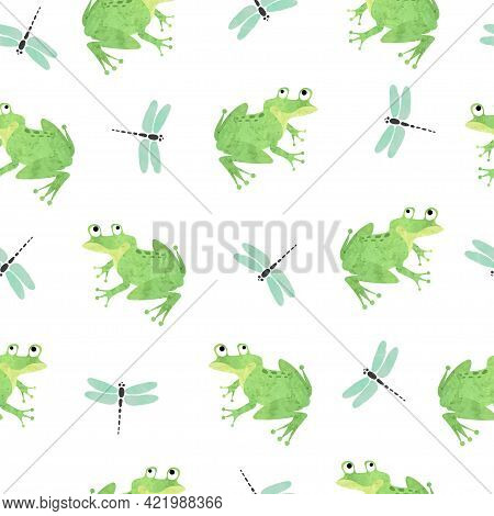 Seamless Green Frog Pattern. Vector Illustration With Frogs And Dragonflies.