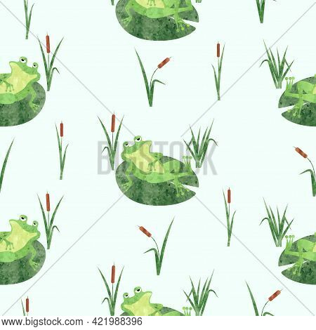 Funny Frog Pattern. Seamless Vector Marsh Background With Toad On Lily Pad.
