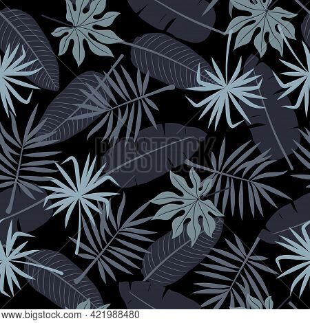 Seamless Tropic Pattern. Jungle Vector Illustration With Tropical Leaves.
