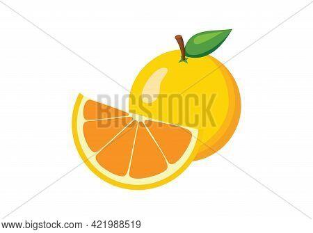 Orange Fruits On White Background, Citrus Fruits With Orange Slices And Leaves Isolated On White Bac