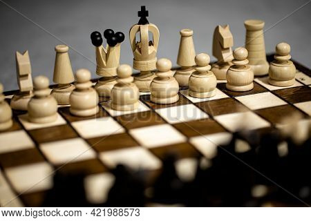Chess Pieces On Board, Arranged In Incorrect Initial Position. Wrong Chessboard Square King. Childre