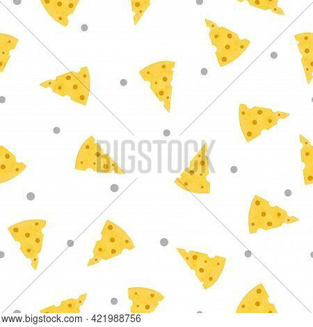 Cheese Pattern. Vector Seamless Illustration With Pieces Of Cheese.