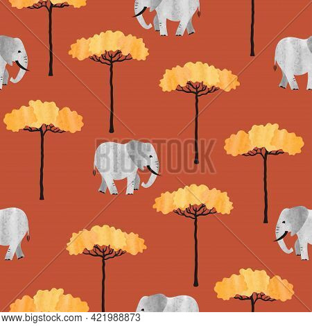 Seamless African Pattern With Elephants And Trees. Vector  Illustration Of Savanna.