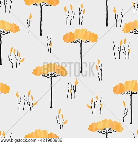 Abstract African Tree Pattern. Seamless Savanna Vector Illustration.