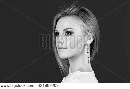 Girl With Fashionable Makeup. Female Beauty And Health. Natural Decorative Cosmetics. Fashion Model