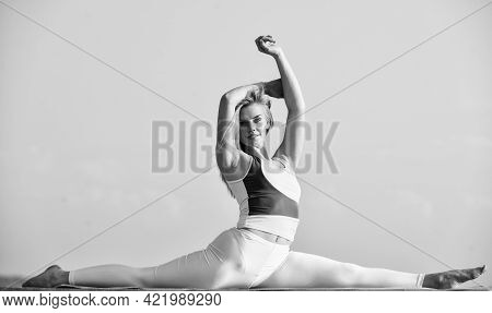 Stretching Muscles. Control Body. Fitness Trainer. Healthier And Happier. Woman Practicing Split. Fl