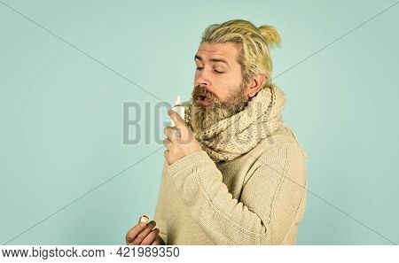Runny Nose And Symptoms Of Cold. Man Scarf Hold Nasal Spray. Medicines Effective Recovery. Allergy M