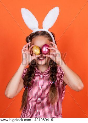 Happy Teen Girl In Bunny Ears Hold Paited Eggs, Happy Easter