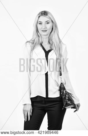 Pretty Woman Hold Handbag. Comfortable. Leather Bag. Glamour Fashion Collection. Fashion Model. Fash